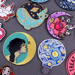 Cartoon Patch Van Gogh Embroidery Patch Iron On Patches For Clothes Whale Jet Water Moon Embroidered Patches For Clothing Custom