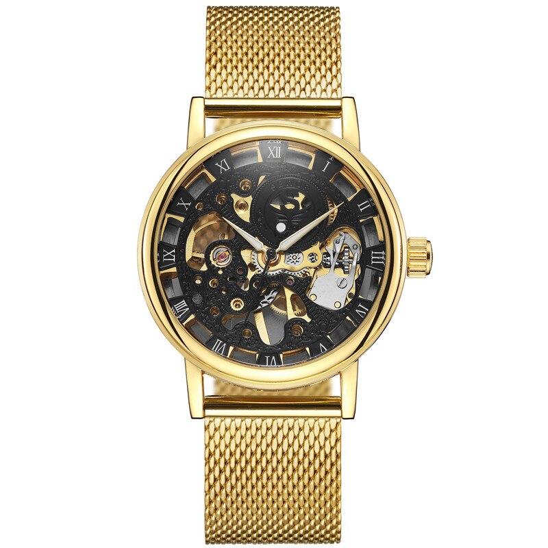 ouro relógios aço inoxidável malha banda mecânica