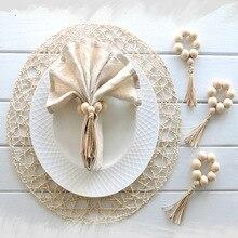 4 Uds hecho a mano cuentas de madera Natural servilletero para bodas fiesta hogar Hotel decoración Decoración de mesa de cena nueva gran oferta