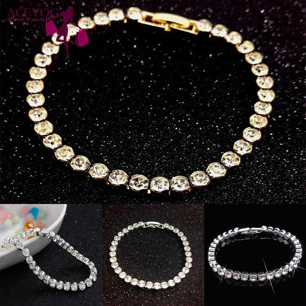 Mujer Casual geométrico Cierre de broche de diamantes de imitación 18,1 cm/7,1 pulgadas pulsera oro, plata
