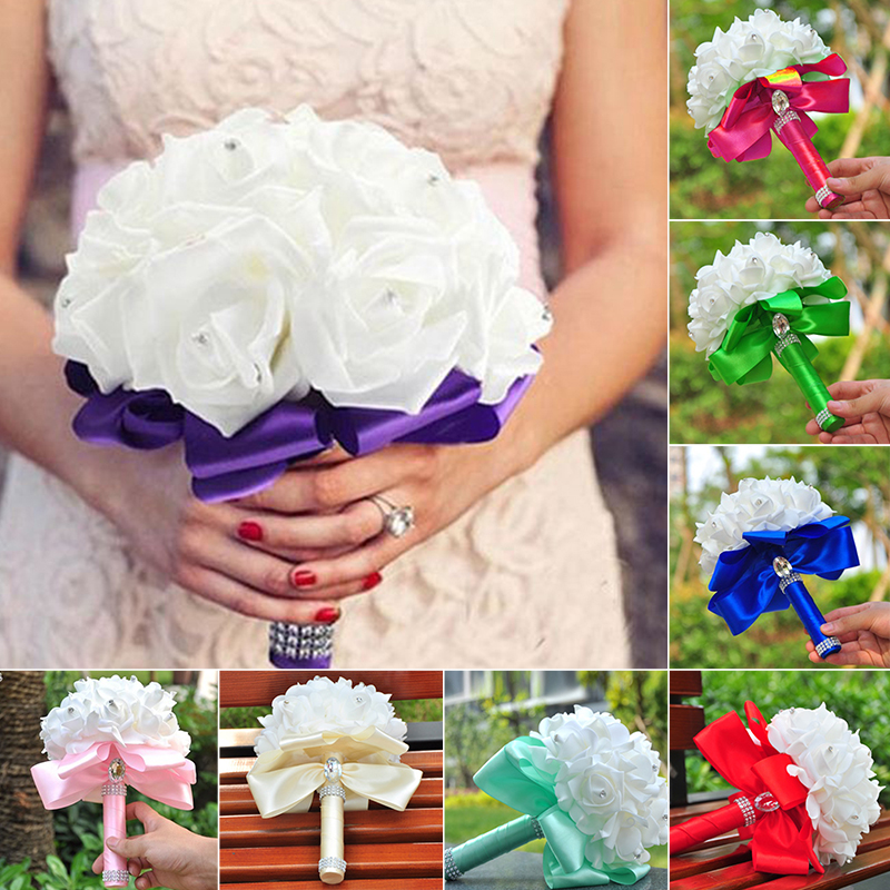 2020 New Wedding Bride Holding Flower Multi-color Romantic Foam Flowers Bridal Bouquets PE Rose Flower Bridesmaid Engagement D30