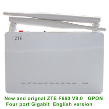 Novo original zte zxa10 f660 v8 gpon onu 1ge + 3fe 1 panelas wi fi inglês firmware sip ftth fibra óptica terminal ont