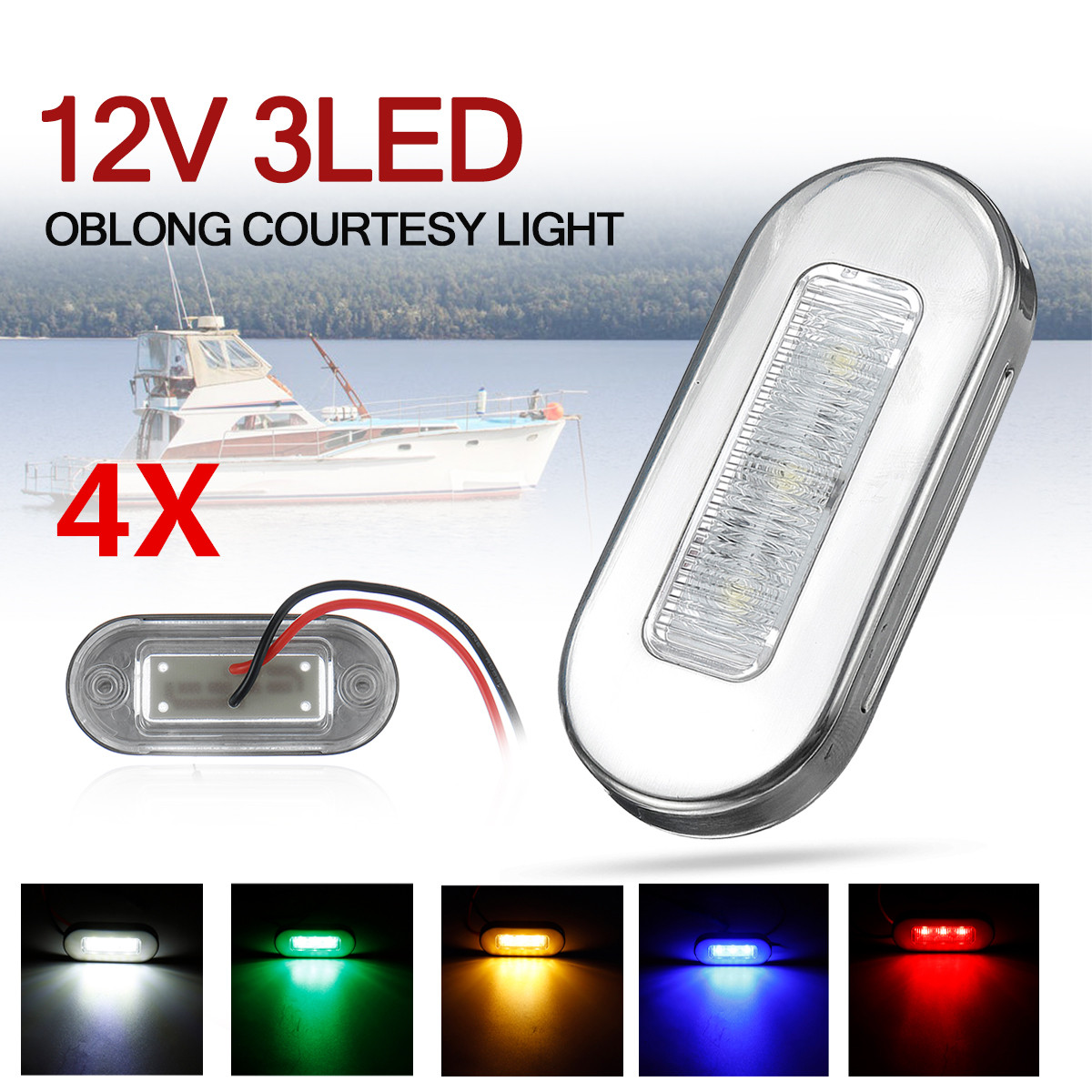 4 pcs 12v 3 led barco escada deck lado marcador luz de cortesia luzes indicadoras turn