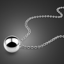 Lovely solid 925 silver bells ball pendant Fashion women long necklace.Charming