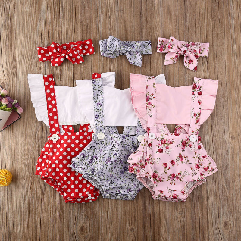 Newborn Baby Girl Flower Ruffle Romper Backless Jumpsuit Headband Sunsuit Outfit 2pcs Baby Summer Clothing 0-24M