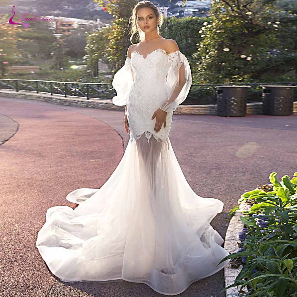 Waulizane Sweetheart Neckline Of Mermaid Wedding Dress With Skin Top Tulle Symmetrical Perspective Skirt Wedding Gown