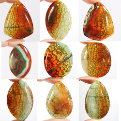 Charms Fire Dragon Veins Agates Multiple Shape Pendant Stone Bead for Jewelry Making 1Pcs Charming Stone Bead