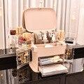 Caixa de maquiagem impermeável e dustproof grande capacidade com titular recipiente de jóias banheiro comestic organizador