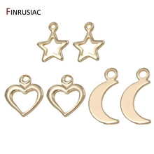 Gold Plated Small Mini Hollow Star/ Heart / Moon Charms For Jewelry Making DIY Bracelets Necklace Earrings 2020 new designer flower charm plated gold rose pendant diy earrings charms making necklace accessories