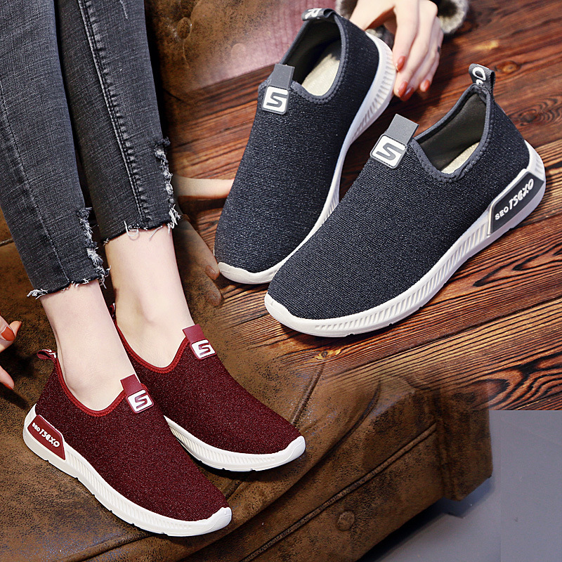 Women Shoes Fashion Candy Color Flat Lazy Canvas Casual Shoes Woman in Women 39 s Vulcanize Shoes from Shoes