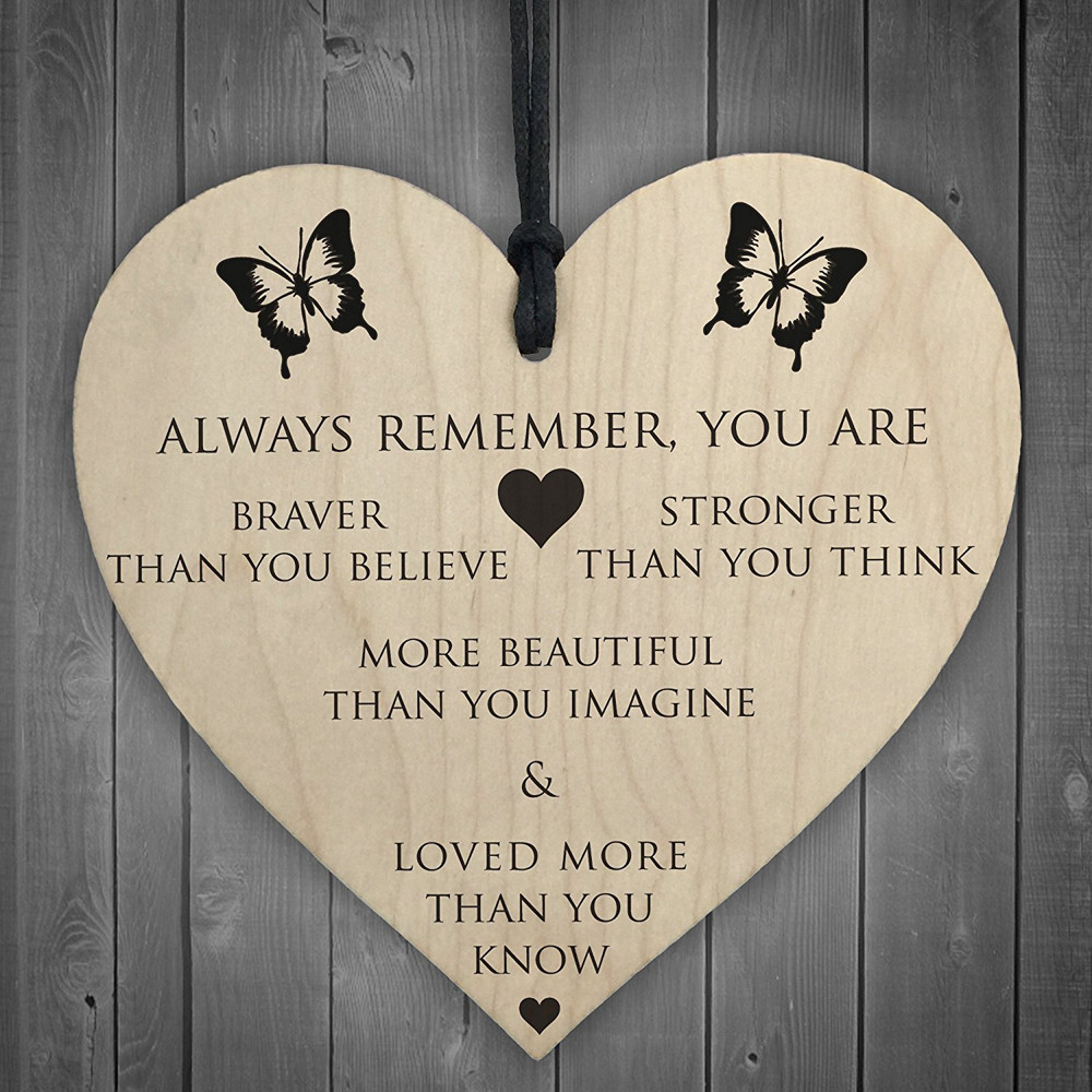 You Are Braver Stronger Smarter & Beautiful Wooden Hanging Heart Friends New Creative Comfortable Warmth Quality Exquisite