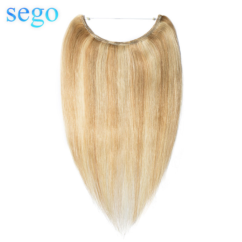 "SEGO 16""-24"" Straight Piano & Pure Color Wire Human Hair Extensions Invisible Wire Flip In Human Hair Extensions Non-Remy Hair"