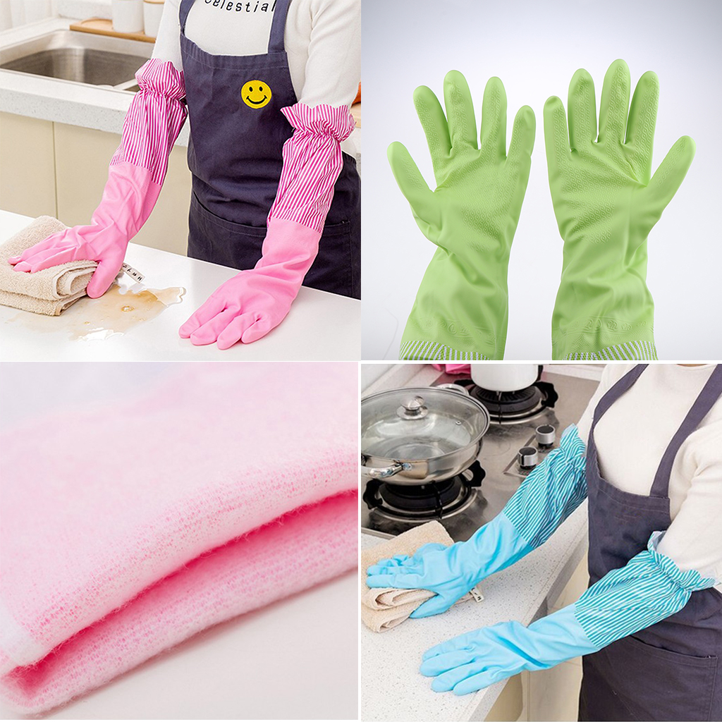 Rubber Cleaning Gloves Waterproof Reuseable Kitchen Dishwashing Gloves