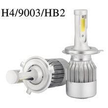 Venda quente 2 pçs cob h4/hb2/9003 10800lm 36w led kit de farol do carro oi/lo turbo lâmpadas 6000k(China)