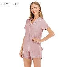 JULY'S SONG-Conjunto de Pijama de verano para mujer, ropa de dormir informal con bolsillos y botones, con camisa y pantalones cortos, 2020