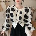 Женская куртка Nomikuma с объемными цветными цветами, с длинным рукавом и круглым вырезом, повседневное пальто, новинка 2021, однобортная элегант...