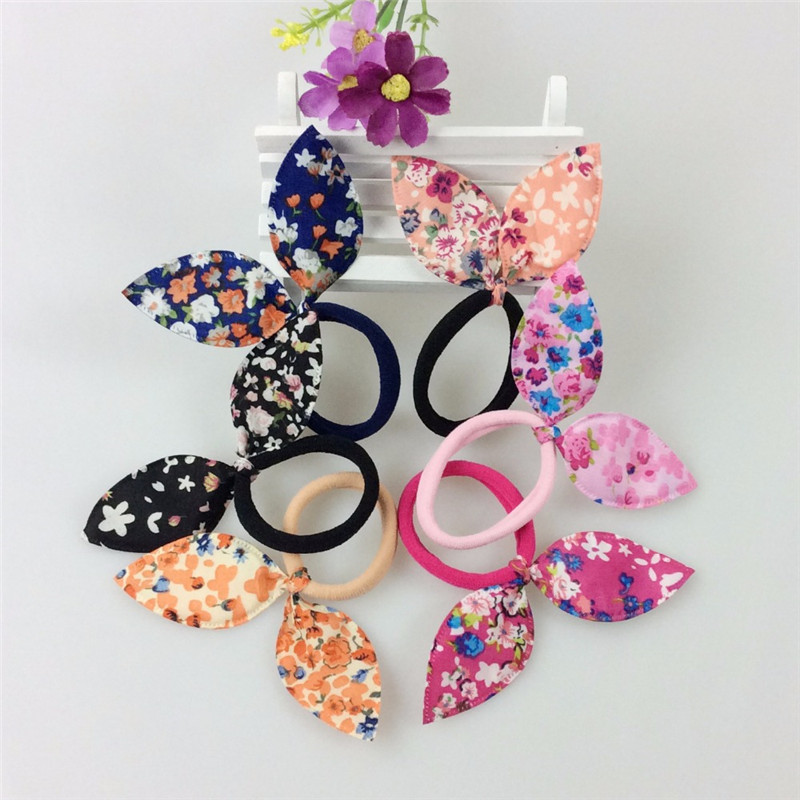 10pcs Women Girls Hair Accessories Cute Floral Bows Elastic Hairbands Princess Hairband Rabbit Ear Children Headbands Headwear