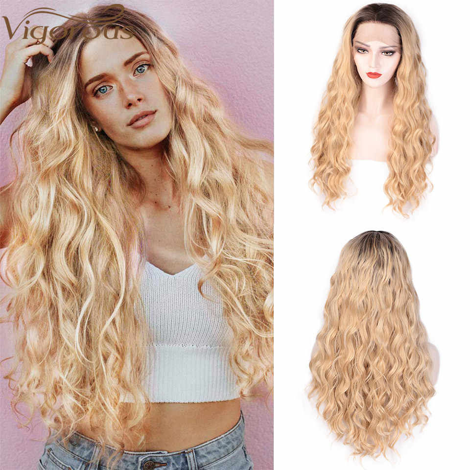 Vigorous 24inch Ombre Blonde Lace Front Wigs Long Wavy Wigs for Women Synthetic Lace Wig Nature Hairline Heat Resistant Fiber