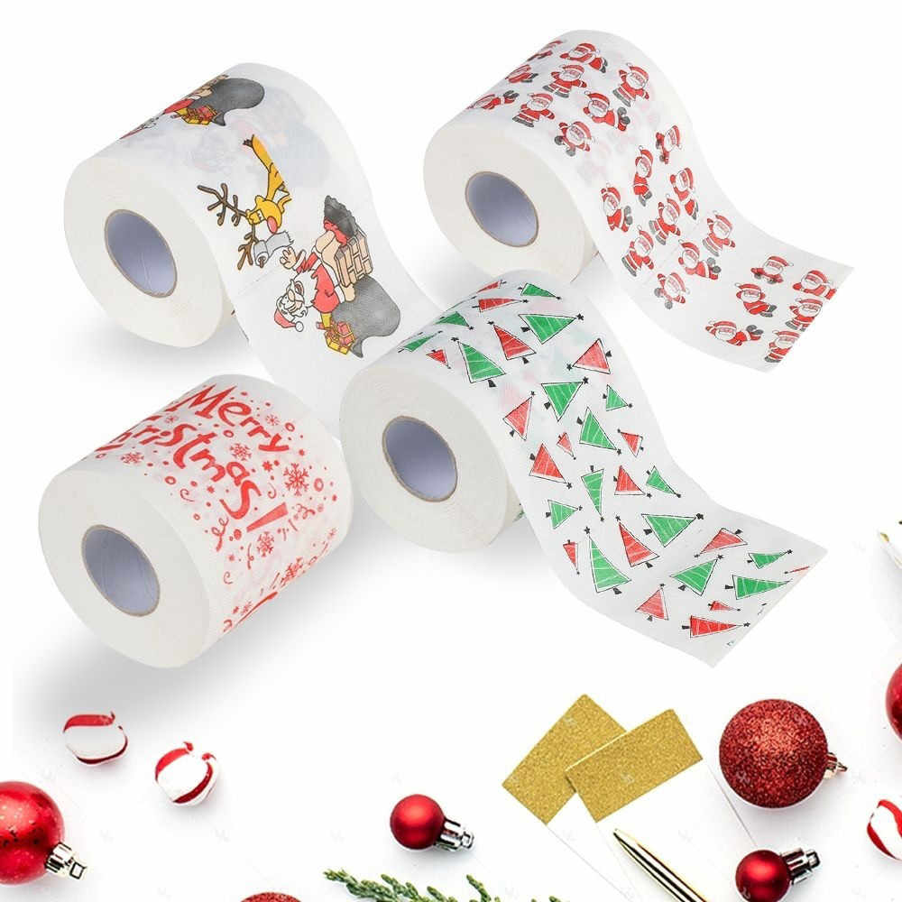 Bath Paper Christmas Printed Home Santa Claus Bath Toilet Roll Paper Christma Supplies Xmas Decor Tissue 170 Leaves Toilet Paper