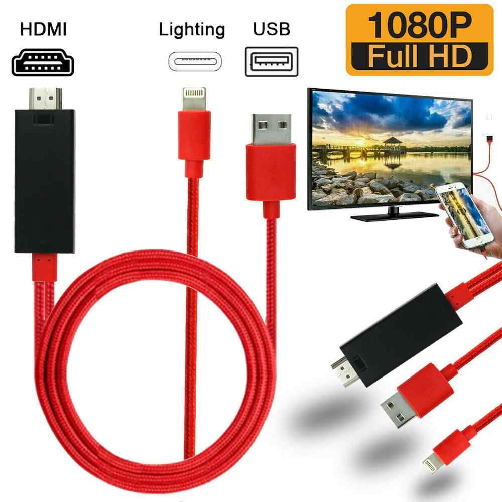 HDMI 2.0 1080P Mirroring Kabel iPhone untuk TV HDTV Streamer Kabel Adaptor untuk iPhone SE 11 11Pro Max XR/XS Max/7/8 Plus/iPad Mini