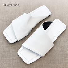 Fashion designer style summer women full genuine leather sheepskin flat mules slippers soft vintage party casual flip flop shoes