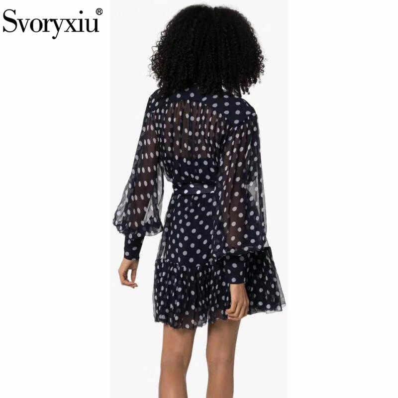 Svoryxiu 2019 nowy jesień projektant Polka Dot sukienka z nadrukiem kobiet stojak kołnierz latarnia rękaw Lace Up moda krótkie sukienki