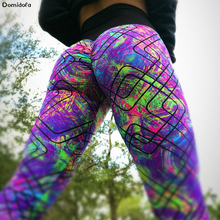 Domidofa Woman Printing Split Joint Geometry Qiaotun Yoga leggings Sports Pants Hit Underpant Polyester