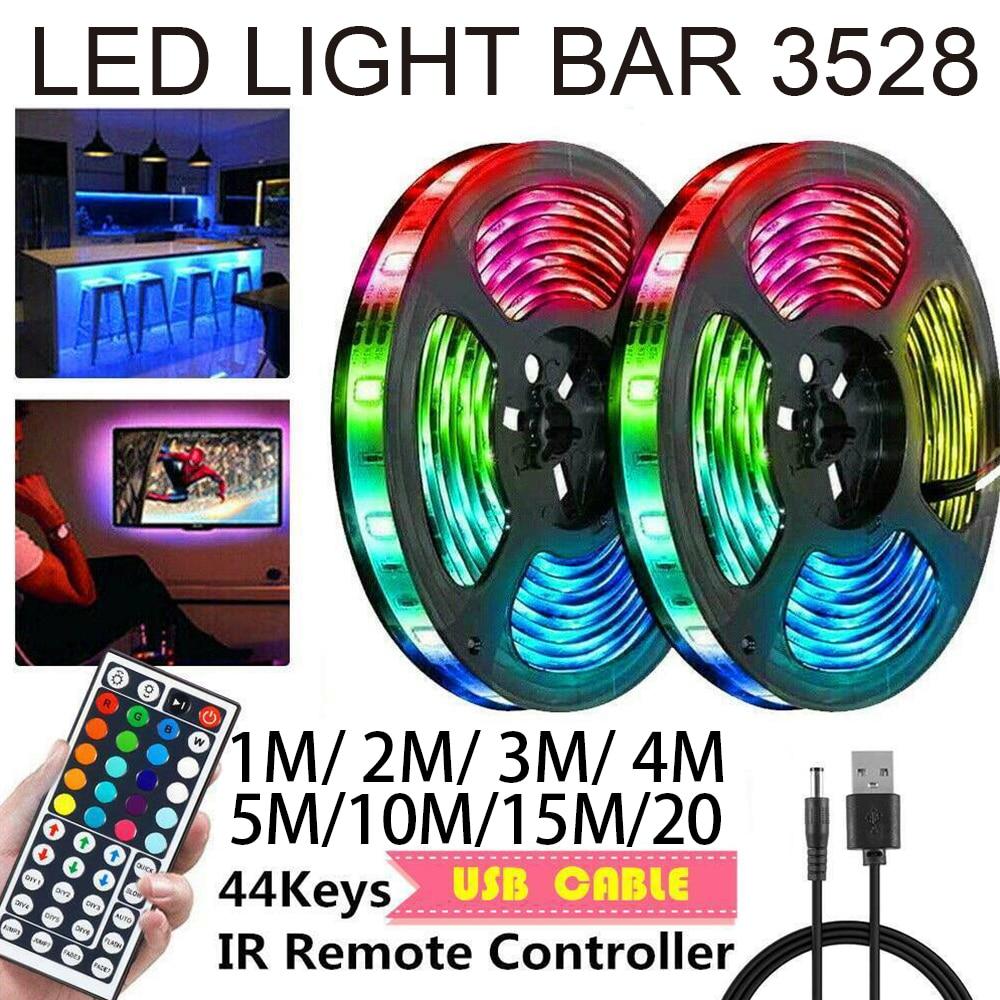 20 м Светодиодные ленты светильник Гибкая лампа 3825 SMD RGB Цвет изменение строка светильник s домашний Спальня светильник ing USB проводным контро...