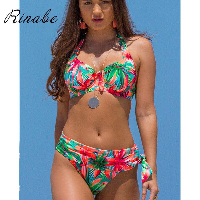 Rinabe Push Up Bikini High Belt Swimsuit Female Floral Print Swimwear Women Bathing Suit High Waist Bikini Set Sexy Biquini