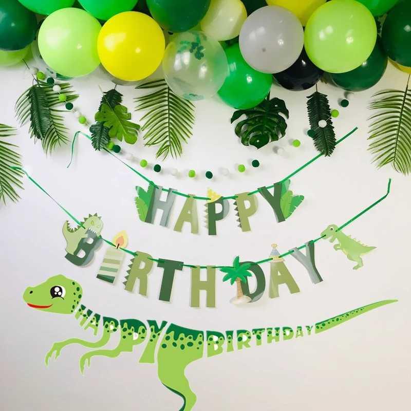Dinosaur Birthday Diy Garland Happy Birthday Banners Roar Dino Party Decor Balloons Wild One 1st Boy Birthday Party Decorations Banners Streamers Confetti Aliexpress
