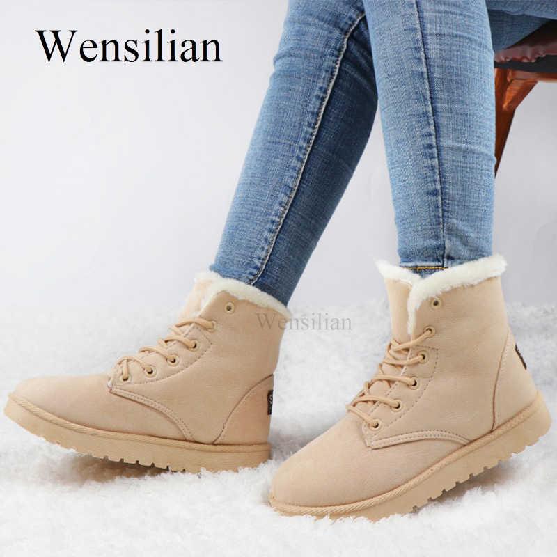 Yarım çizmeler kadın botları için bej moda kar botları dantel-up kış ayakkabı düz kadın patik Lidies ayakkabı peluş botas Mujer