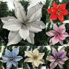 Enfeite de árvore de natal, decoração de flores com glitter de 13cm para casamento, natal, árvore de natal, enfeite de decoração a35 com 10 peças