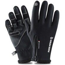 Guantes de ciclismo para invierno, forrado con Polar térmico, resistentes al agua y con pantalla táctil, antideslizantes, S-2XL