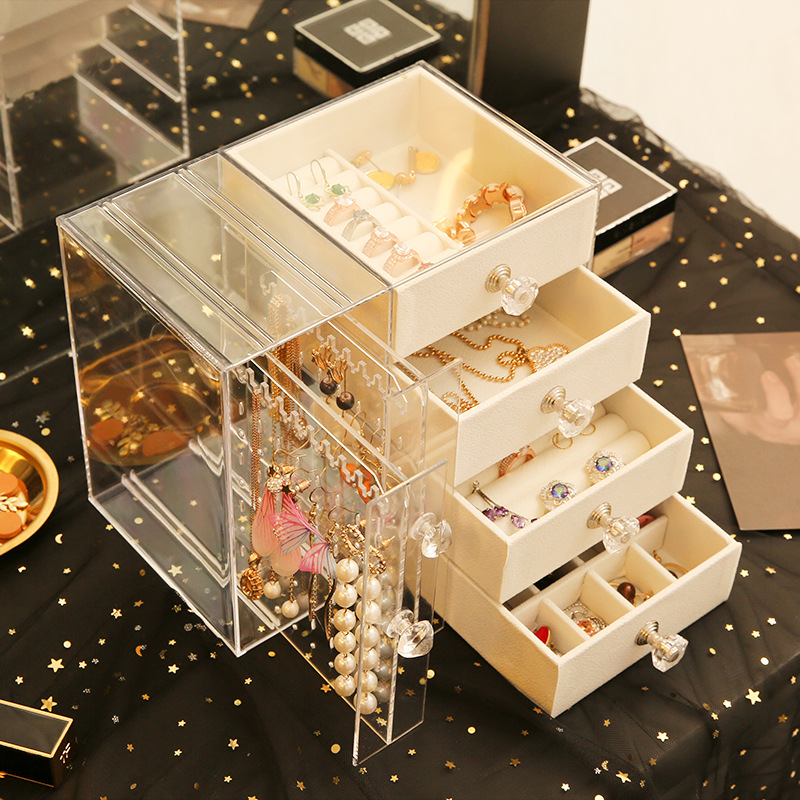 Fresh And Simple Girl With Earrings Jewelry Box Earring Multi-function Jewelry Boxes  Cosmetic Organizer