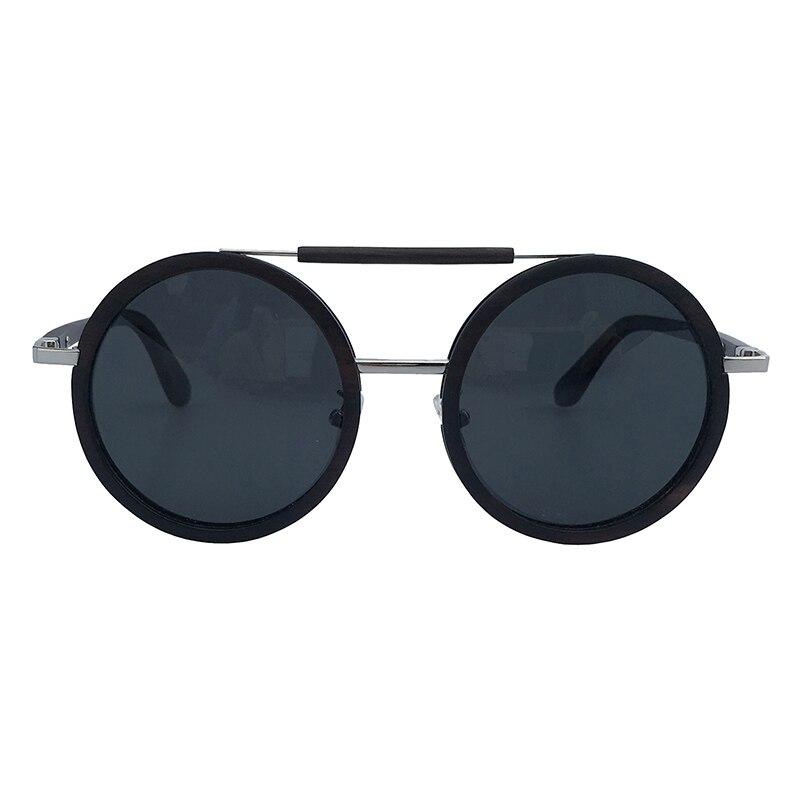 Vintage style metal temples double bridges round black ebony wood sunglasses with wooden part on bridge unisex wooden sunglasses