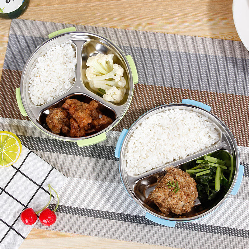 1Pcs Round Three-Grid Lunch Box Compartment Tableware Dinnerware Portable Student Storage H