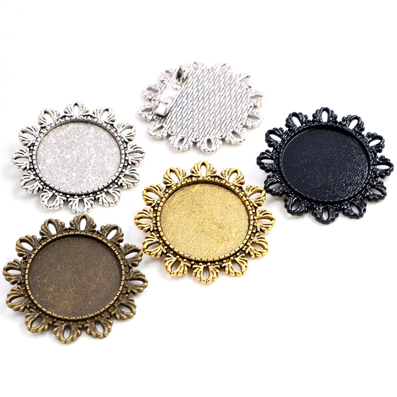 New Fashion 5pcs 25mm Inner Size 4 Colors Plated Flower Brooch Cameo Cabochon Base Setting Charm Pendant
