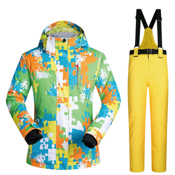 Hot Family Outdoor Skiing Suit Camouflage Printing Snowboard Waterproof Jacket Pant Sets For Women Men Winter Snow Ski Equipment