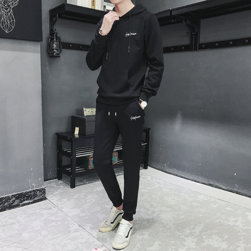 Autumn Men's Hoodie Set 2018 New Style Youth Slim Fit Korean-style Black, Hoodie Sports Casual Coat Special Offer