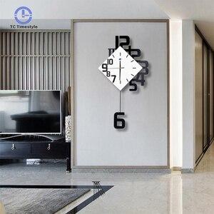 Swing Wall Clock Modern Design Nordic Style Living Room Wall Clocks Home Decor Fashion Creative Bedroom Silent Clock Wall Decor(China)