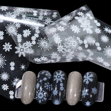 4pcs White Snowflake Nail Foil Stickers Set Mixed Flower Christmas Design Sliders For Art DIY Decorations BE750