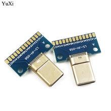 Yuxi 1pcs usb 31 type c connector 24+2p female / male plug receptacle