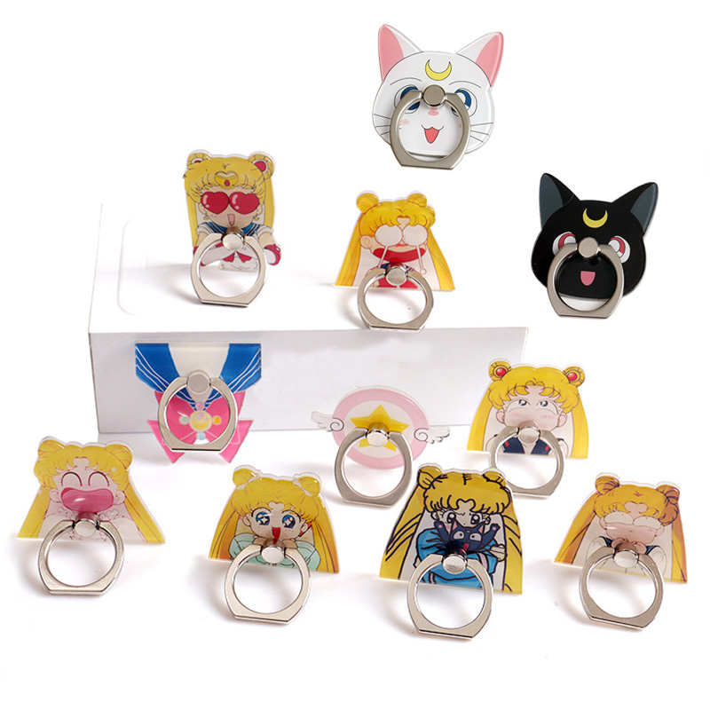 Funnydog Sailor Moon Pattern Plastic Mobile Phone Finger Ring Holder Universal For All Brands Phone And All Men And Women