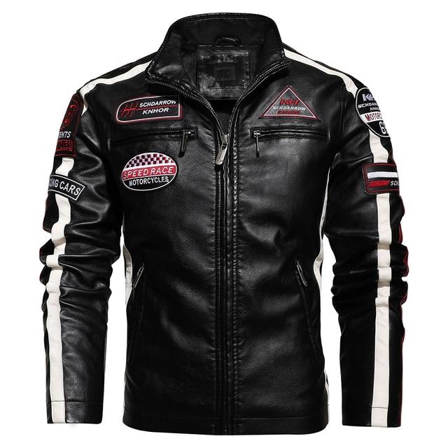 Aliksada Men Autumn Winter New Fashion Motor Biker Leather Jackets Coat Men Vintage Style Patchwork PU Faux Leather Jackets Men 4