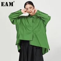 [EAM] Women Split Joint Oversized Asymmetric Blouse New Lapel Long Sleeve Loose Fit Shirt Fashion Tide Spring Autumn 2019 1A326