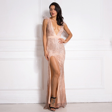 Pink Glittered Patchwork Feather Maxi Dress Sexy Deep V Neck Split Leg Sleeveless Evening Party Dress