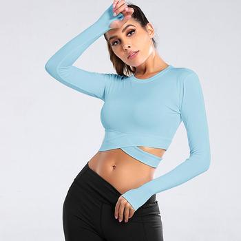 Damskie koszulki do biegania z długim rękawem Sexy odsłonięte koszulki z pępkiem jogi solidne koszulki sportowe do biegania szybkie suche Fitness siłownia krótkie bluzki tanie i dobre opinie LOOZYKIT CN (pochodzenie) WOMEN spandex Pasuje prawda na wymiar weź swój normalny rozmiar Seamless Long Sleeve Gym Woman Sport Shirt
