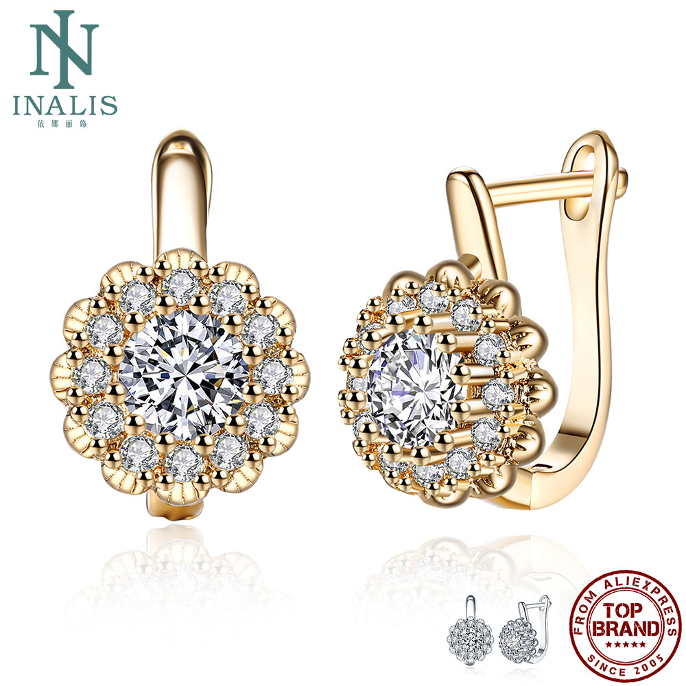 INALIS Stud Earrings For Women Flower-Shaped Inlaid 5A+ Cubic Zirconia Luxury Copper Earrings Hot Selling Pretty Fashion Jewelry