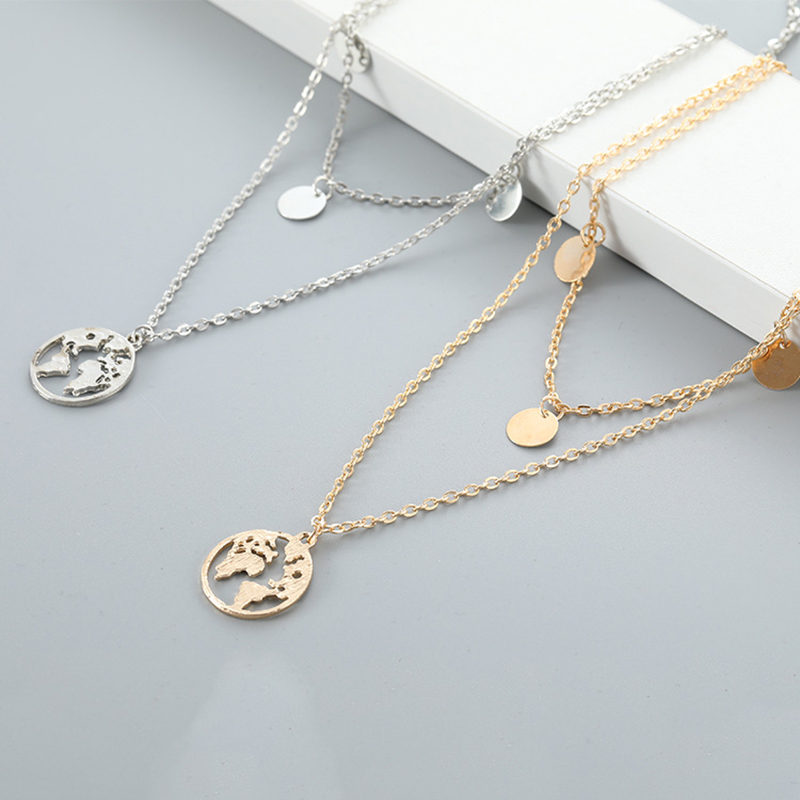 Creative Personality World Map Pendant Necklace Women's Gold Multi-layer Chain Pendant Accessories Fashion Lady Jewelry Gifts
