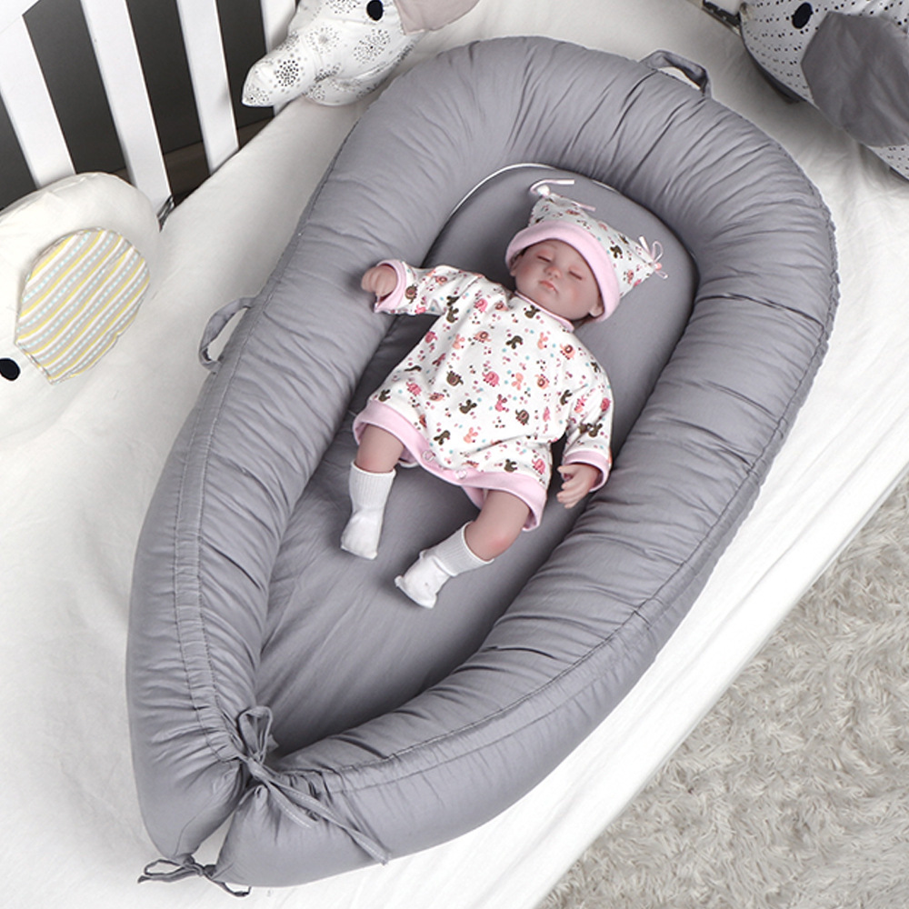 50*90cm Removable Baby Nest Bed Portable Cribs Travel Bed Infant Toddler Cotton Cradle For Newborn Baby Bed Bassinet Solid Color